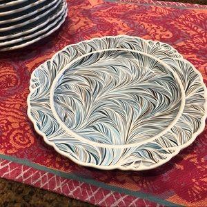Anthropologie Turquoise Scalloped Dinner Plates
